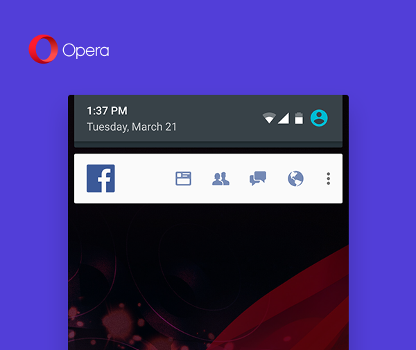 Opera Mini browser Facebook notifications save data fast