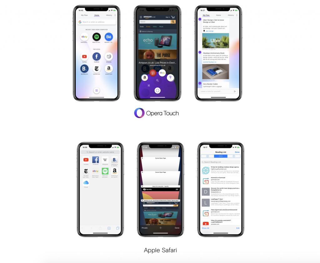 Opera Touch vs. Apple Safari feature comparison