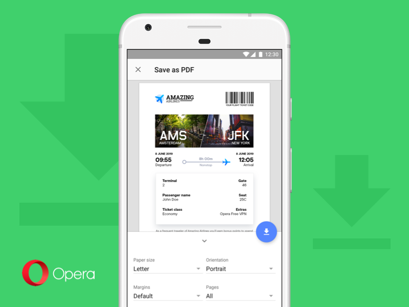 The new Opera browser for Android 52 comes now with PDF