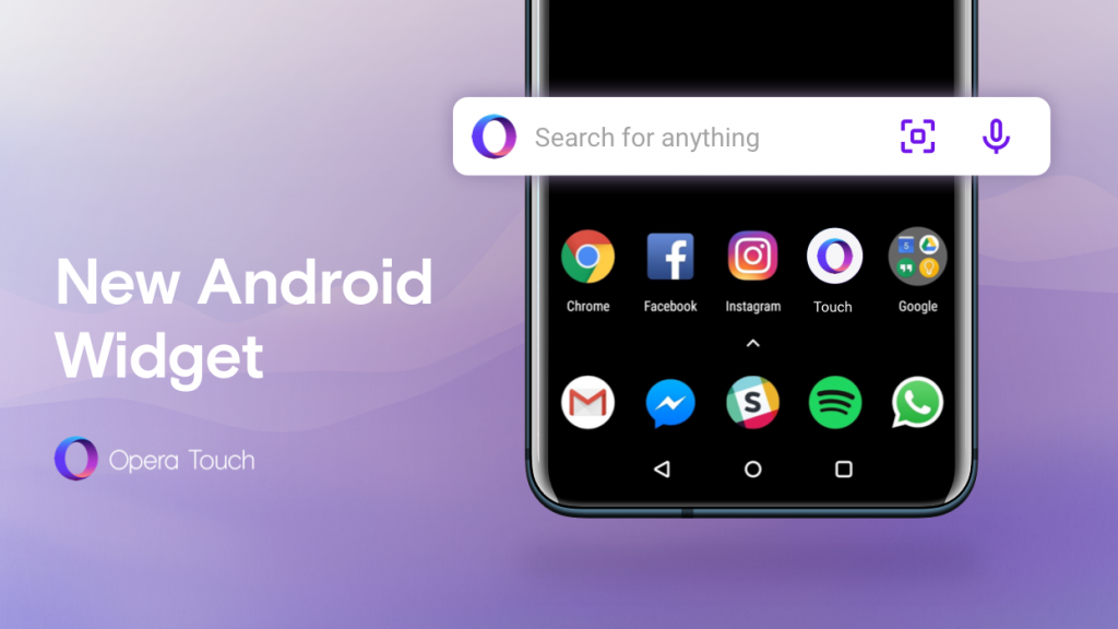 Opera Touch now with Android search widget