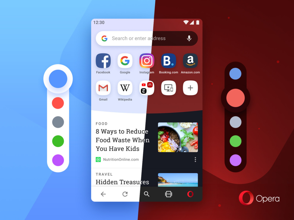 Opera for Android lets you pick from 5 different colors - available in light and dark theme