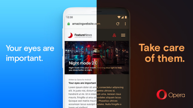 Opera Android 55 Night Mode helps reduce eye strain and makes the browser super dark
