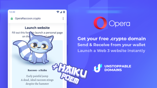 Secure a .crypto domain with Unstoppable domains and Opera