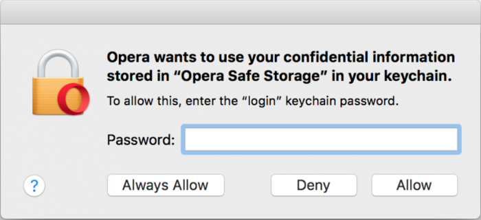 Opera asks for my keychain password on macOS - what do I do