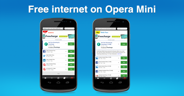 Freecharge sponsored free internet on Opera Mini