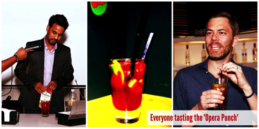 From L to R: (1) Manager of Re Café & Bar making the Opera Punch (2) 'Opera Punch' (3) Andy tasting the punch