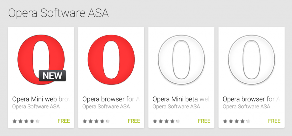 Opera icons on play store
