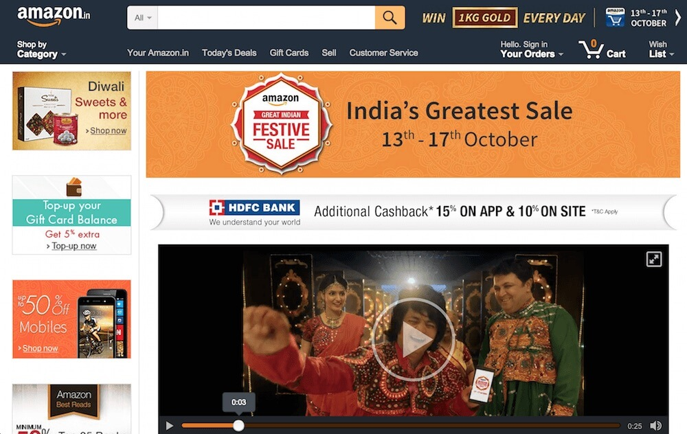 Diwali shopping on Amazon