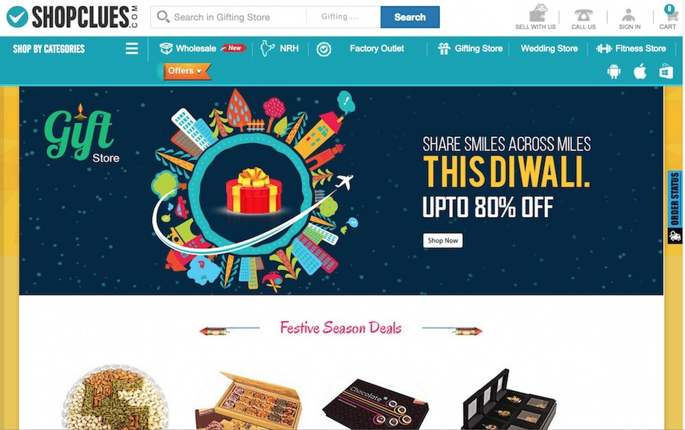 Diwali shopping on Shopcluesq
