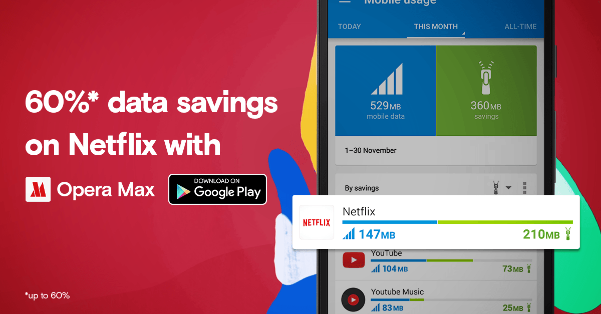Watch more Netflix with Opera Max
