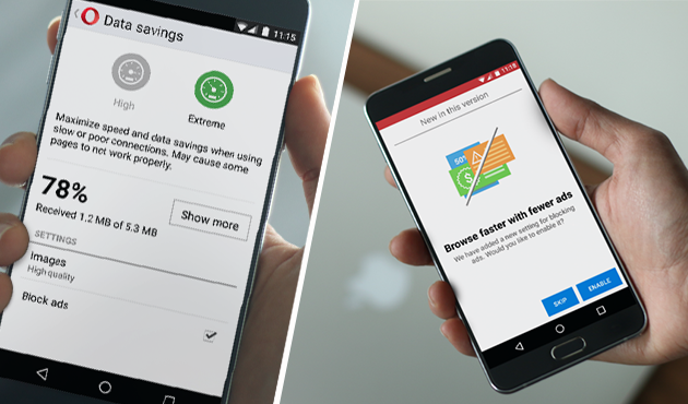 Free built-in ad blocker for Android in Opera Mini for super fast web browsing