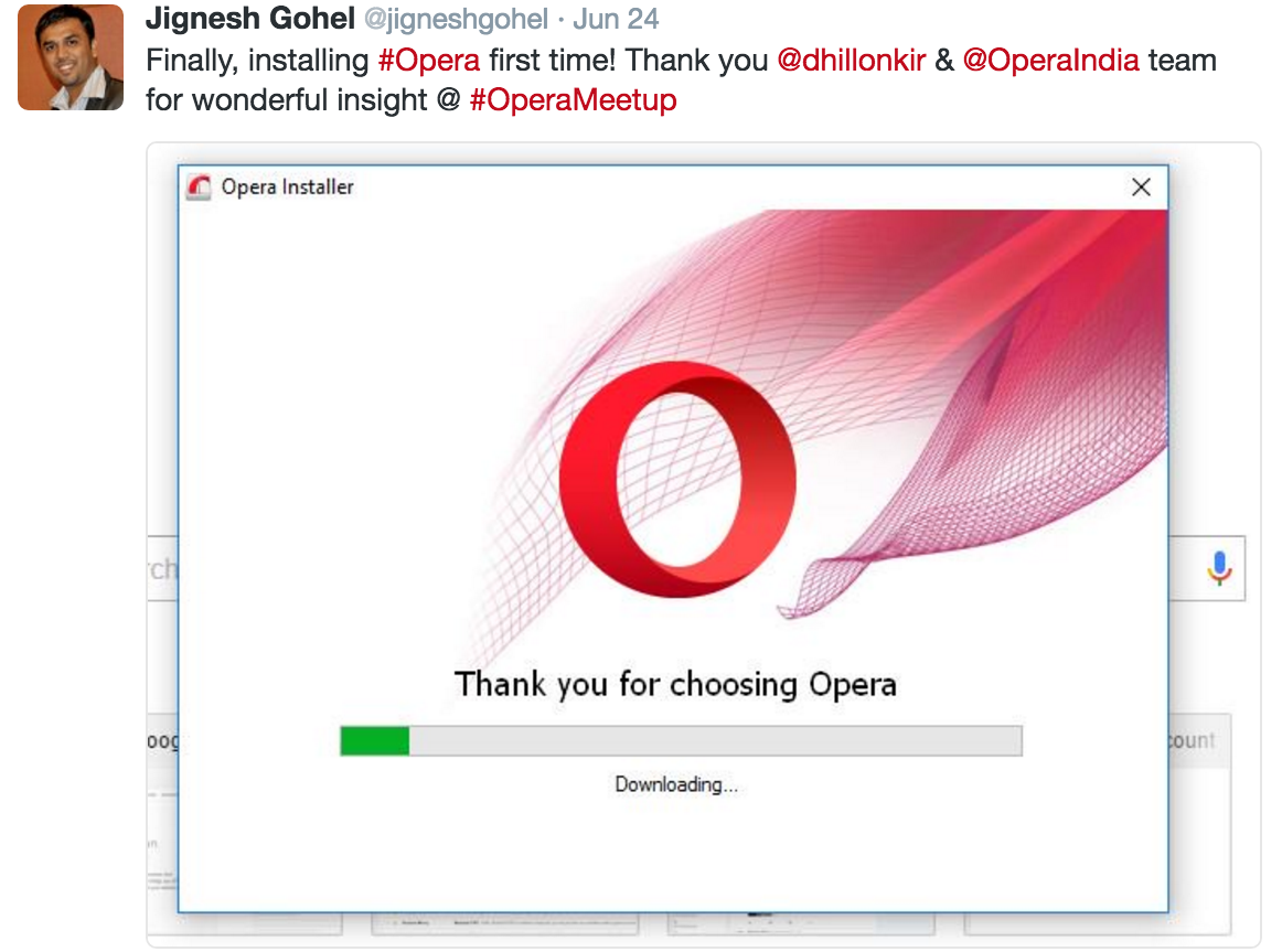 people downloading Opera thanks to opera meetup