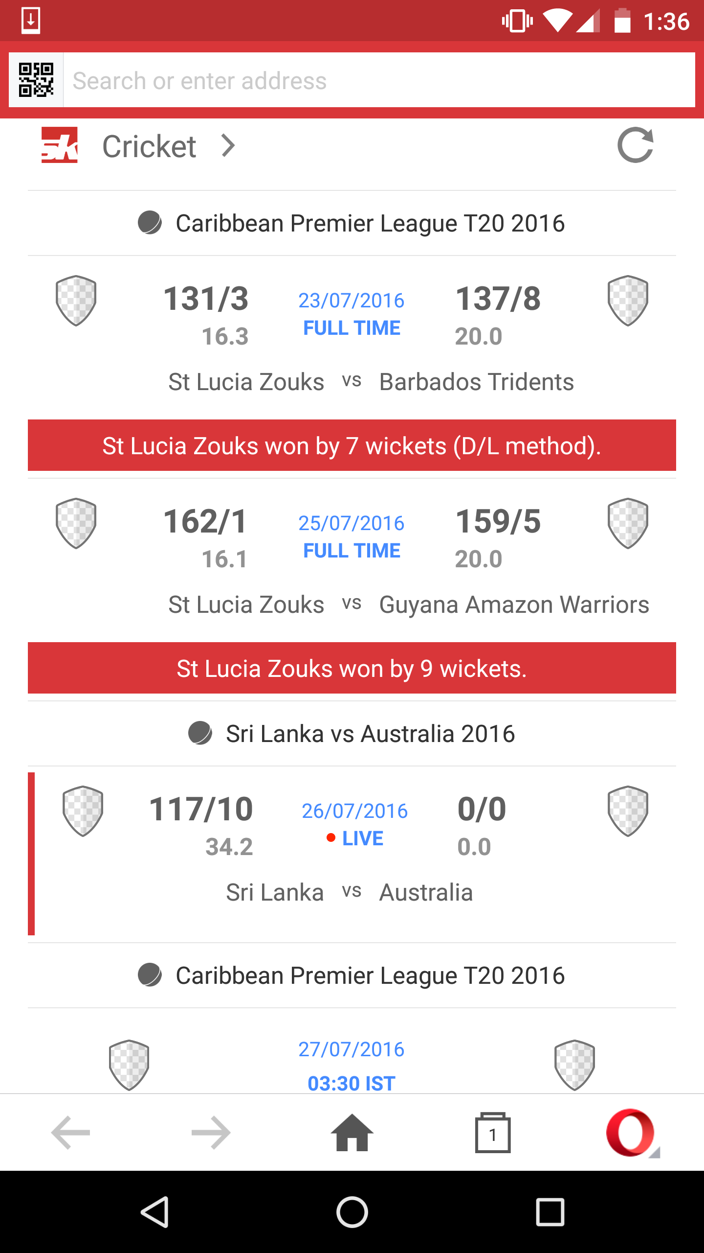 cricket scores and video download in the all new Opera Mini