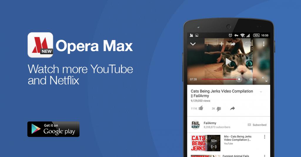 Tonton video dengan Opera Max